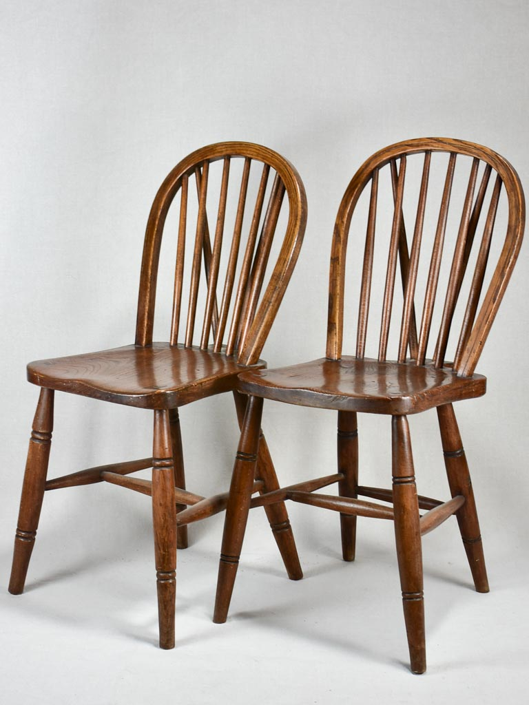 Pair of early twentieth century folk art wooden chairs