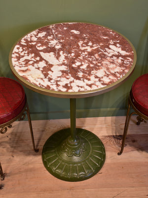 Round French bistro table with marble top