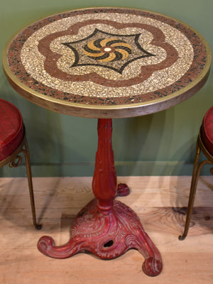 Art Nouveau bistro table with mosaic top