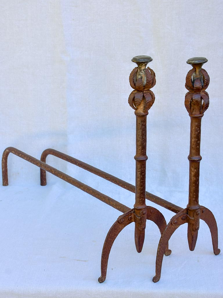 Pair of antique French fireplace dog irons / andirons