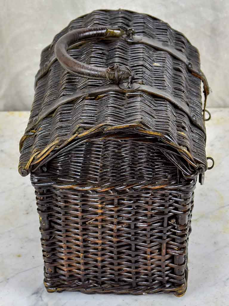 Antique French picnic basket - black wicker
