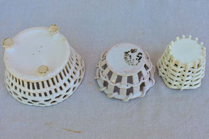 Collection of three antique French faience basket bowls