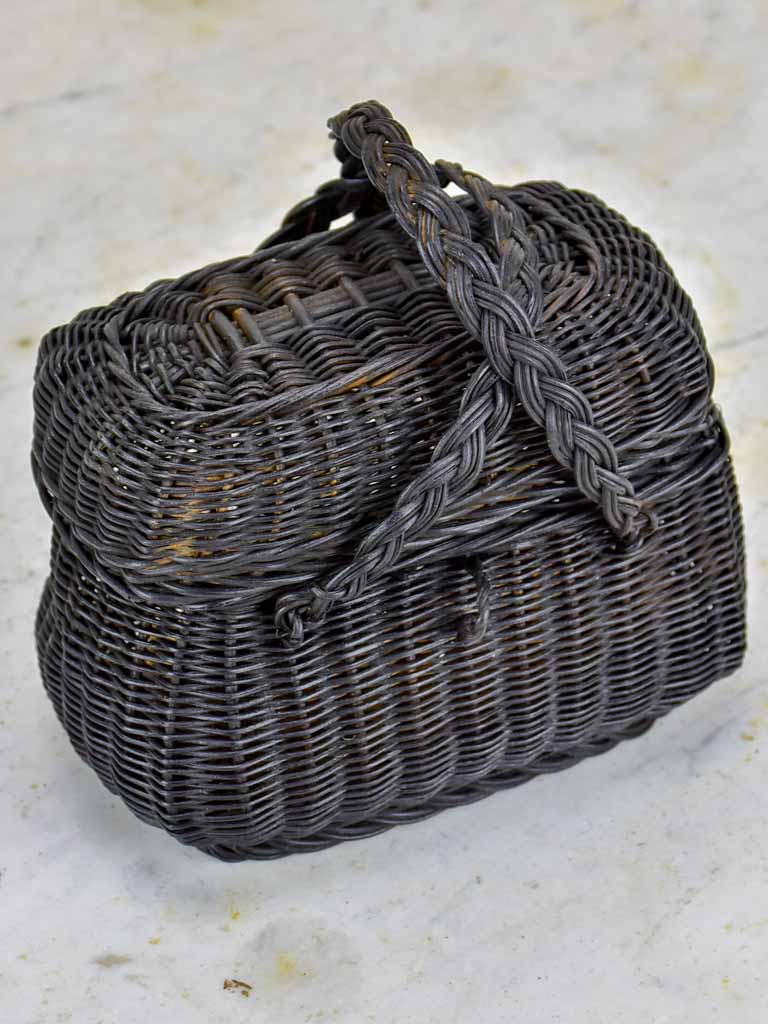 Very small antique French picnic basket