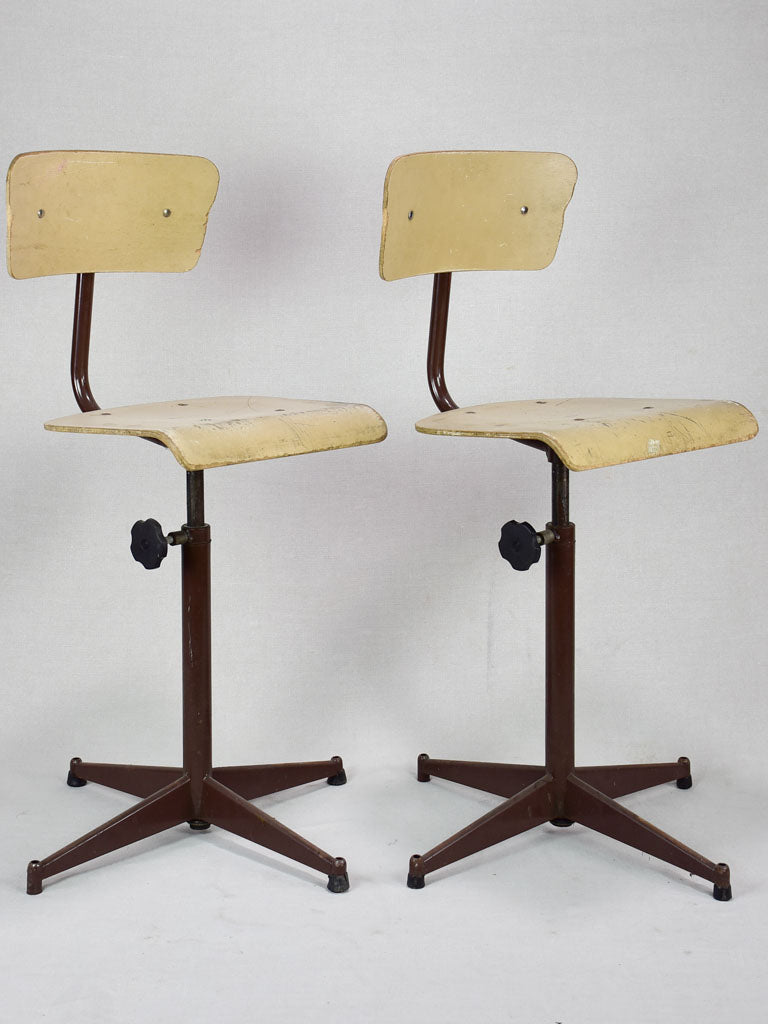 Pair of vintage adjustable schools from a Swiss art college (4 pairs available)