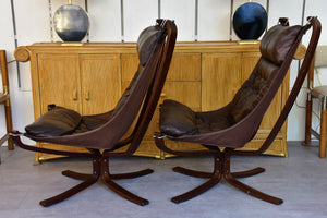 Large pair of Norwegian Falcon chairs attributed to Sigurd Ressell