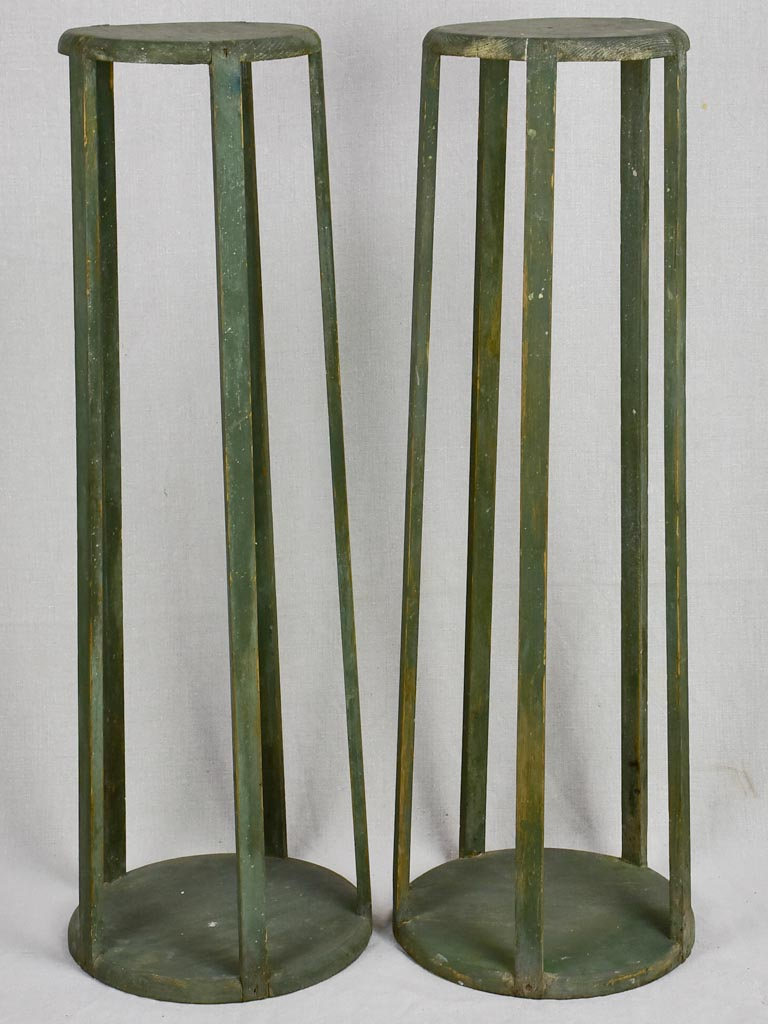 Pair of Napoleon III pedestals with green patina 31½""