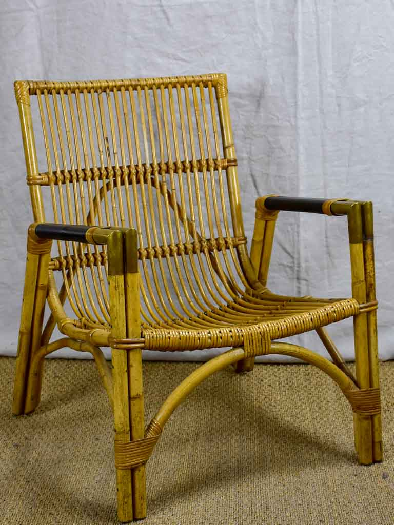 1950's bamboo, leather and brass armchair