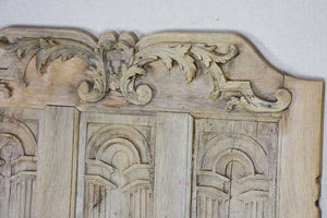 "Late 19th Century French oak carved door with three perspective panels 32"" x 25¼"""