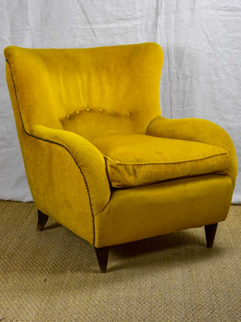 1950's Italian armchair with original mustard velour uphostery