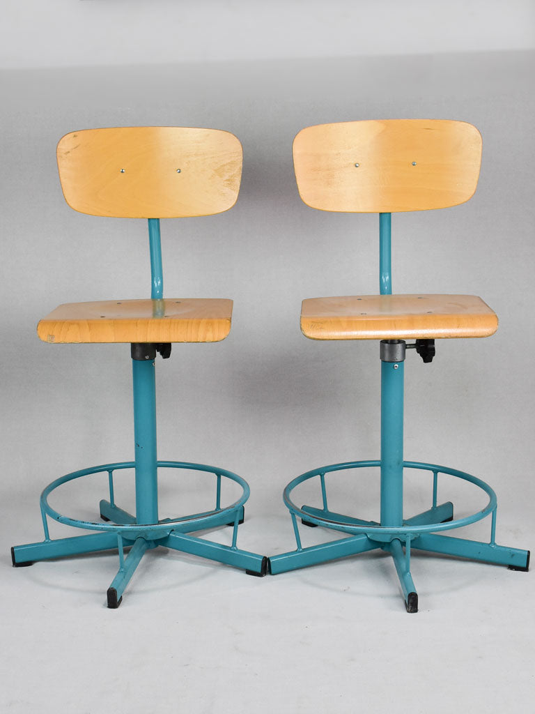 Pair of blue adjustable schools from a Swiss art college