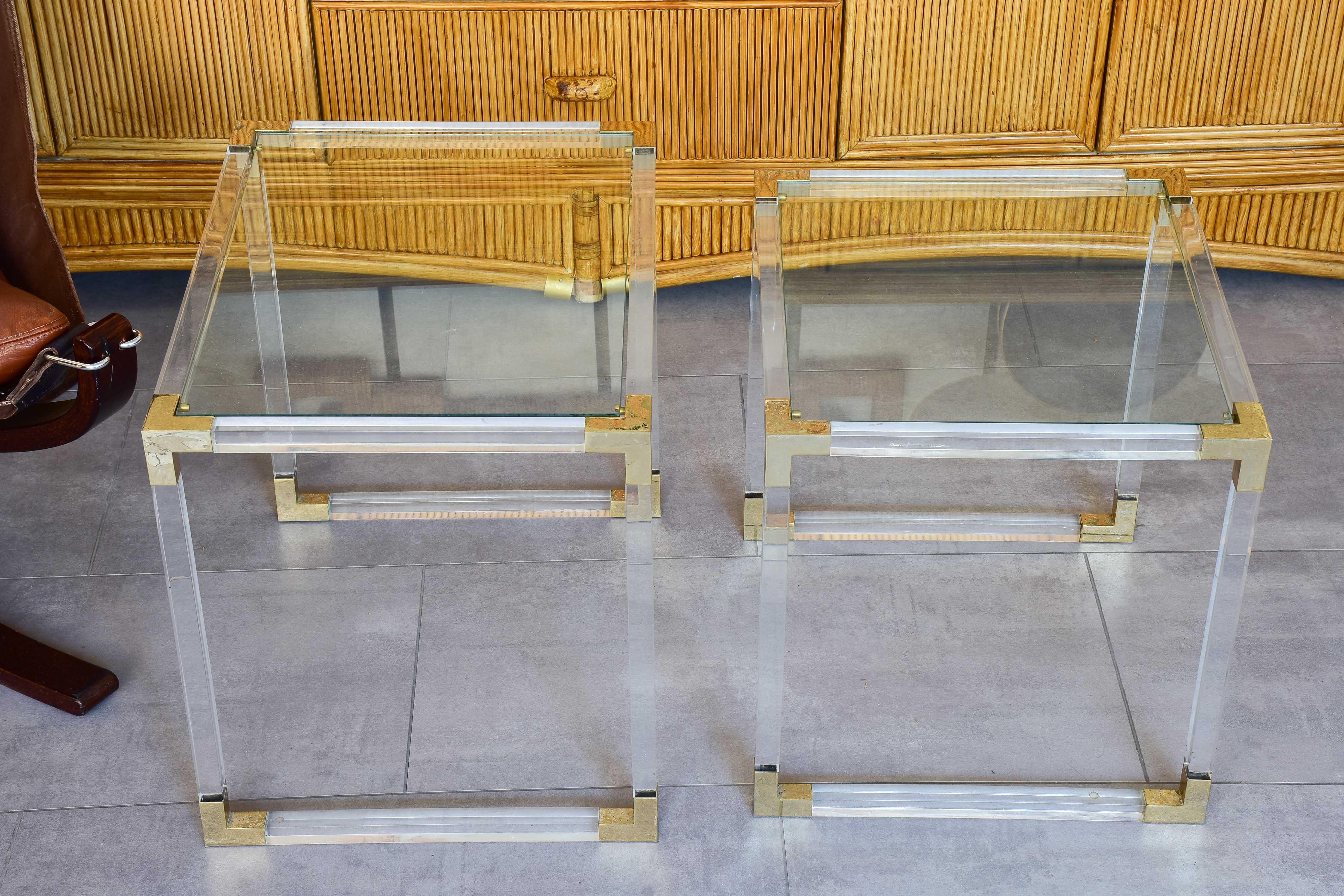 Two pairs of perspex nesting tables