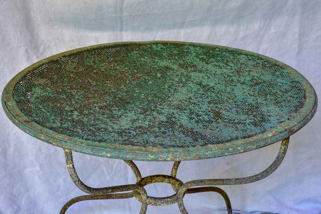 Rustic antique French garden table with green mesh 32""