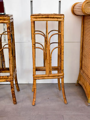 Pair of vintage rattan side tables