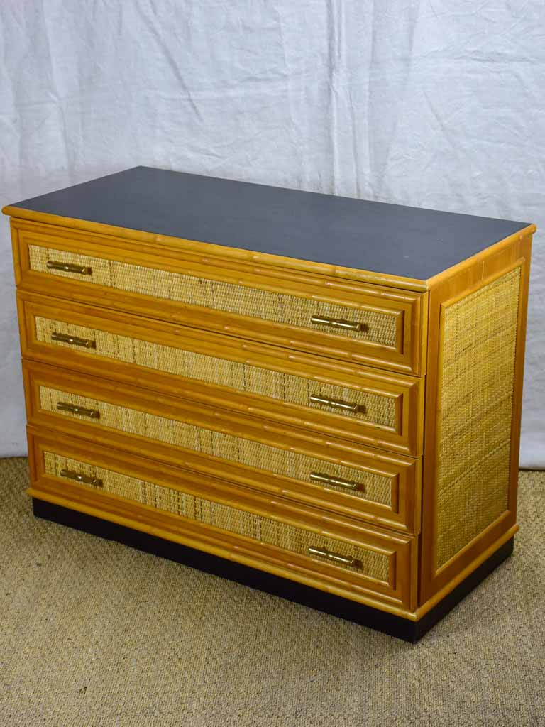 1970's Italian commode - four drawers - cane and bamboo style hardware 41¼""