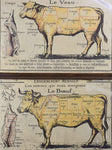 Antique French butcher's cut charts - beef and veal