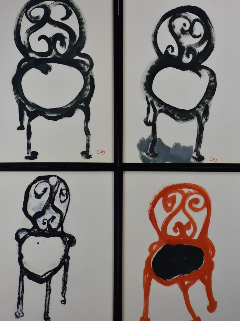 Four paintings of antique chairs by Caroline Beauzon