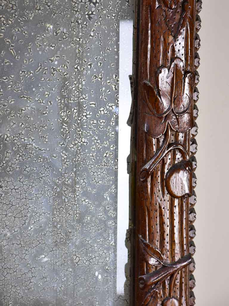 "Folk art mirror dated 1891 carved wood - Foret Noire 30¾"" x 53¼"""