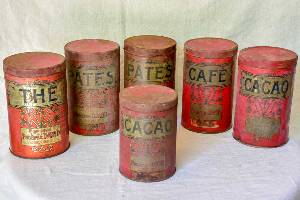 Collection of 6 antique French tole storage tins 9½""