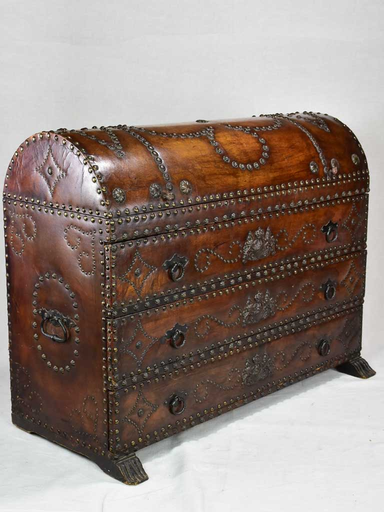 Rare leather travel commode / chest 1930's