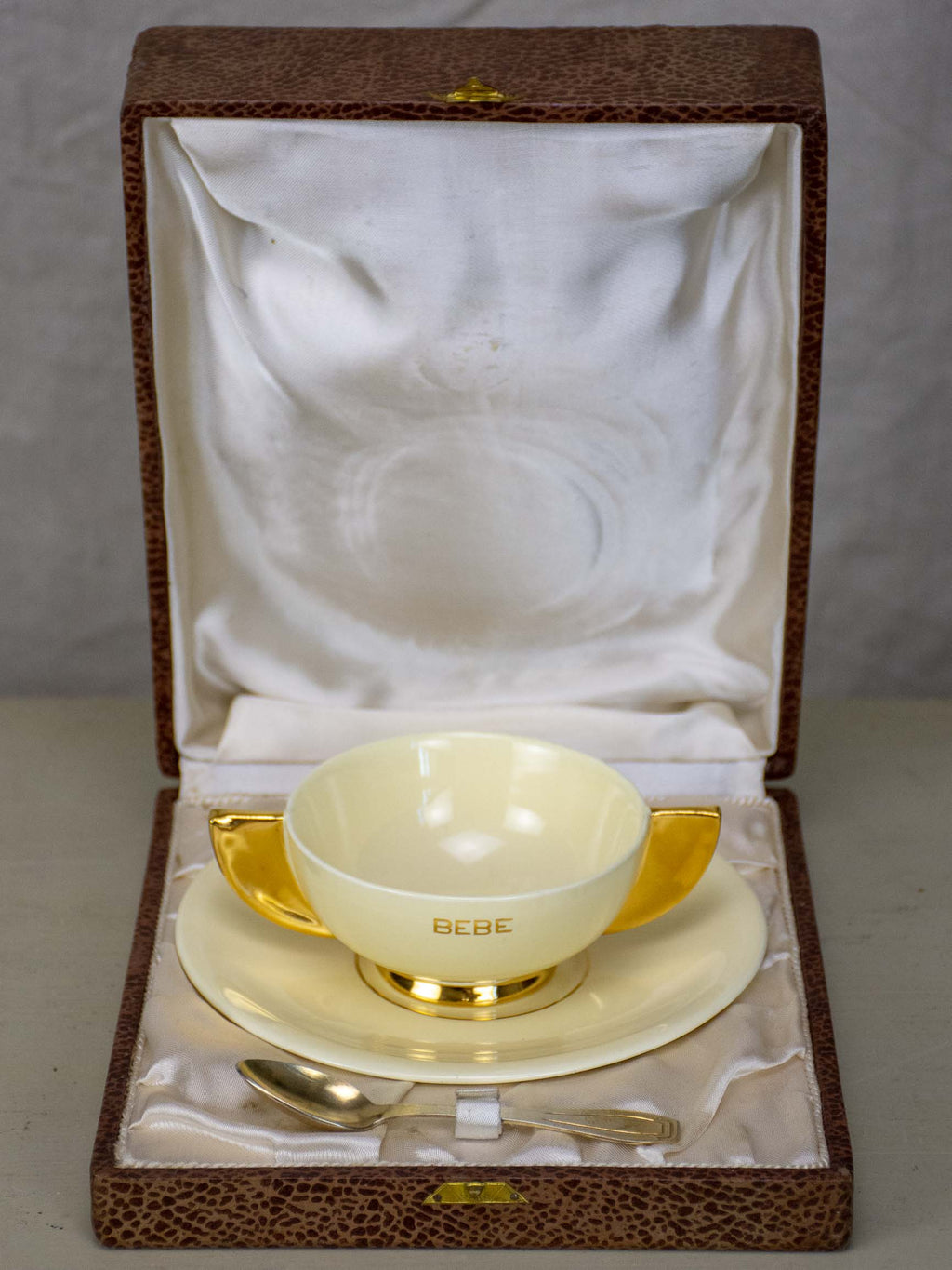 Robj Paris 'Bebe' cup, saucer and spoon in original box