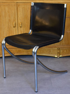 Set of six vintage leather dining chairs