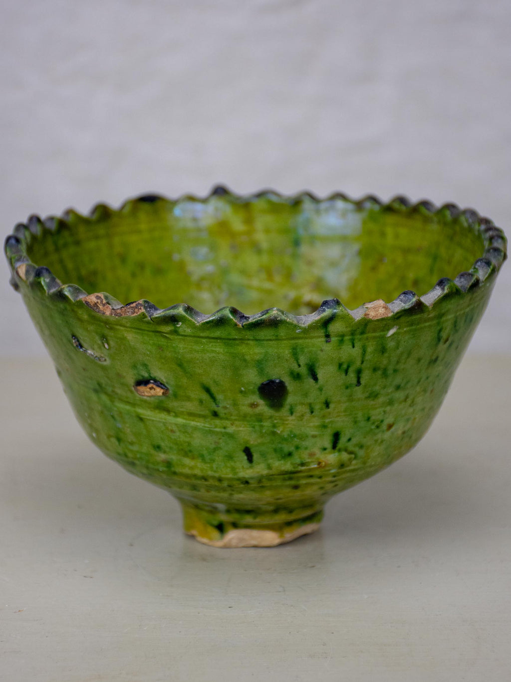 Antique French nut bowl with green glaze