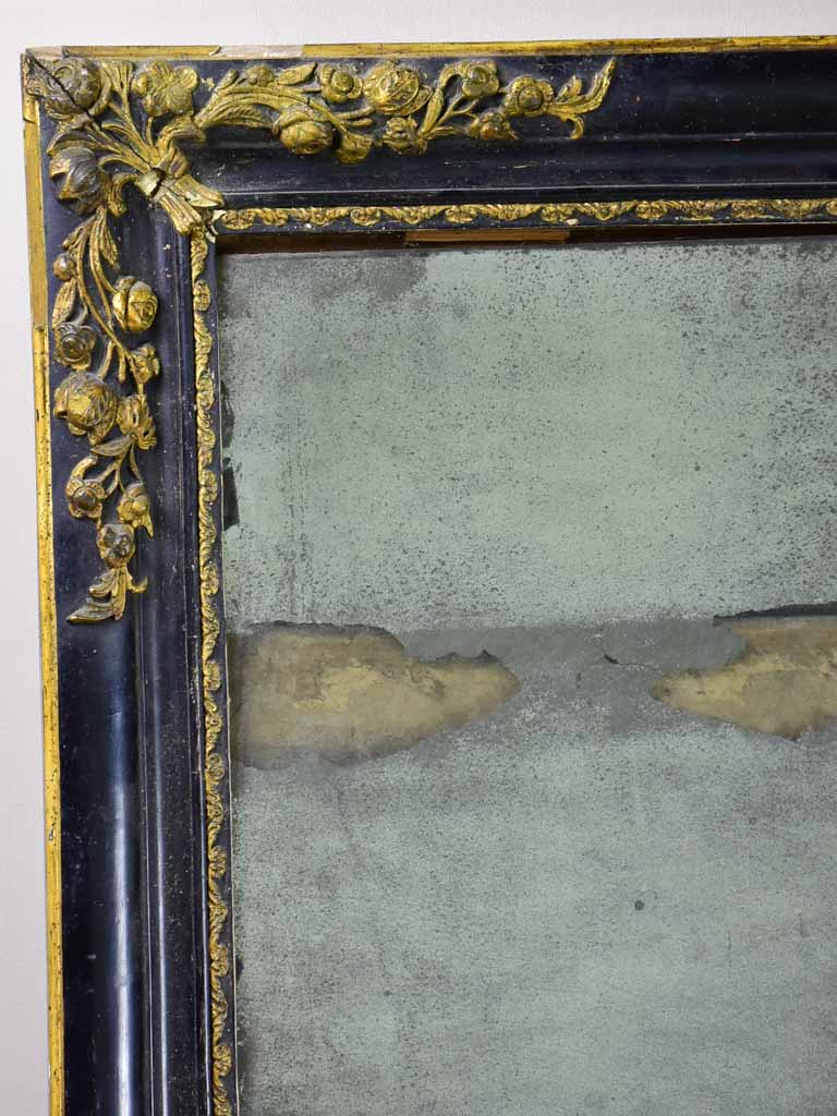 "19th Century French mirror with black and gold frame 25½"" x 30¾"""