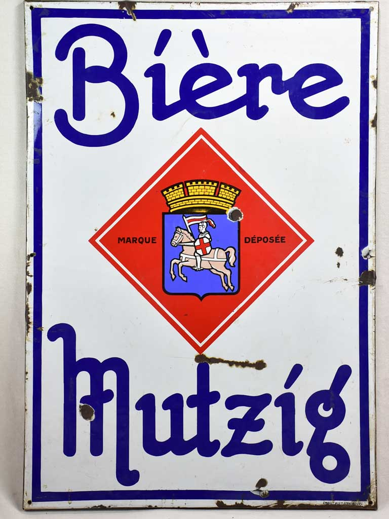 "Large 1960's French enamel sign - Beer from Alsace 54"" x 37¾"""