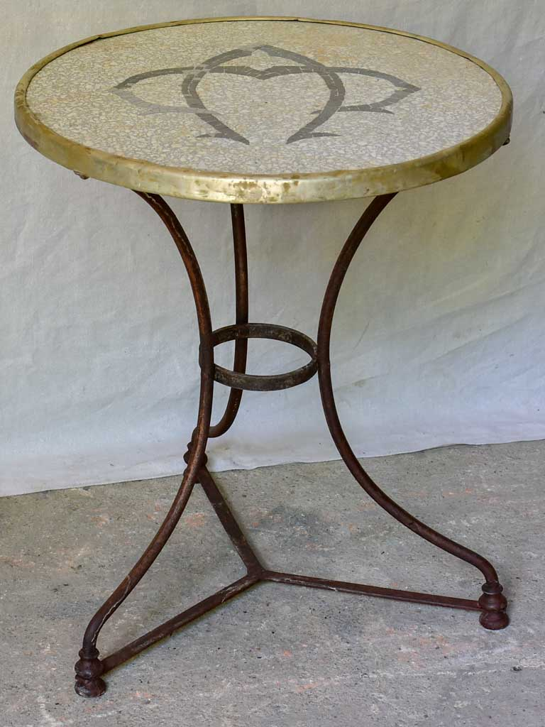 Early 20th Century French bistro table with mosaic monogram