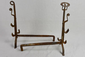Large pair of 18th century French fire andirons 28""