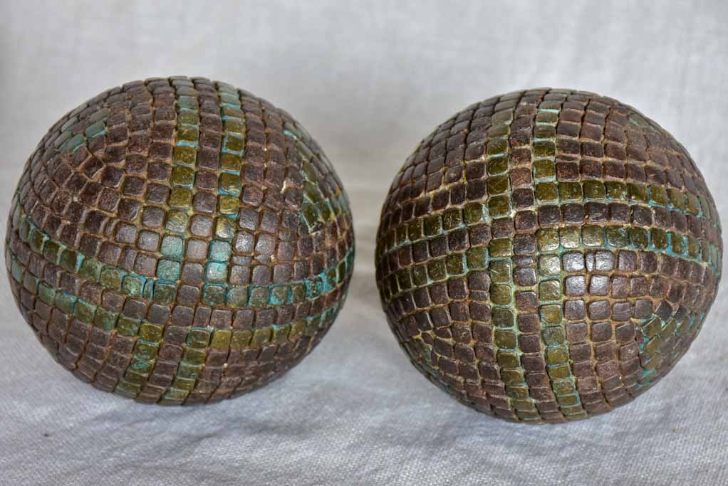 Pair of antique French petanque balls