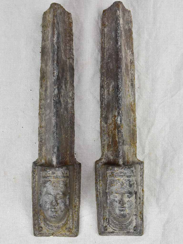 Pair of 18th Century French fireplace andirons with faces 17¾""