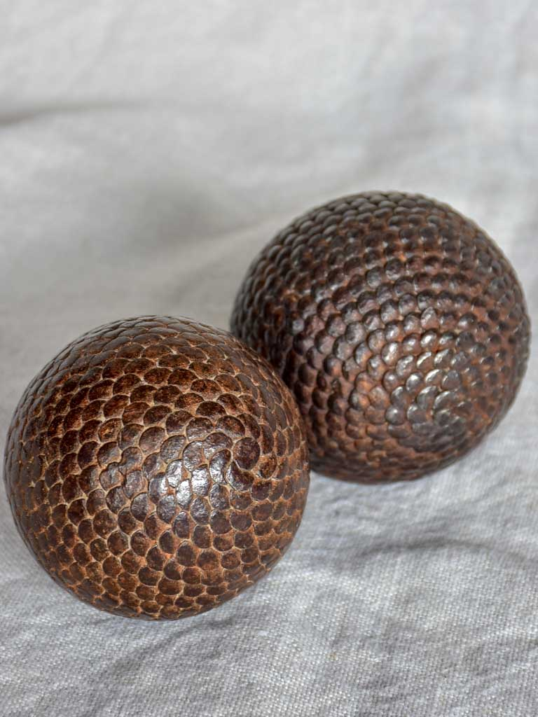 Pair of small antique French petanque balls - Boules