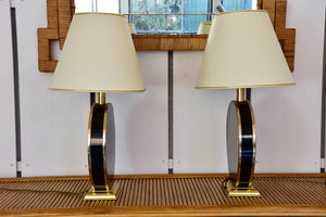Pair of mid-century lamps with black base