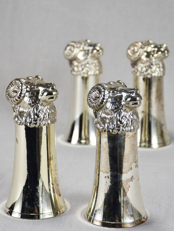 Set of four silver plate hunter's glasses - ram's heads