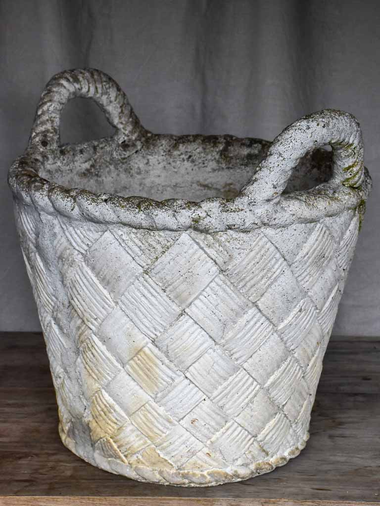 Large antique French garden planter in the shape of a woven basket