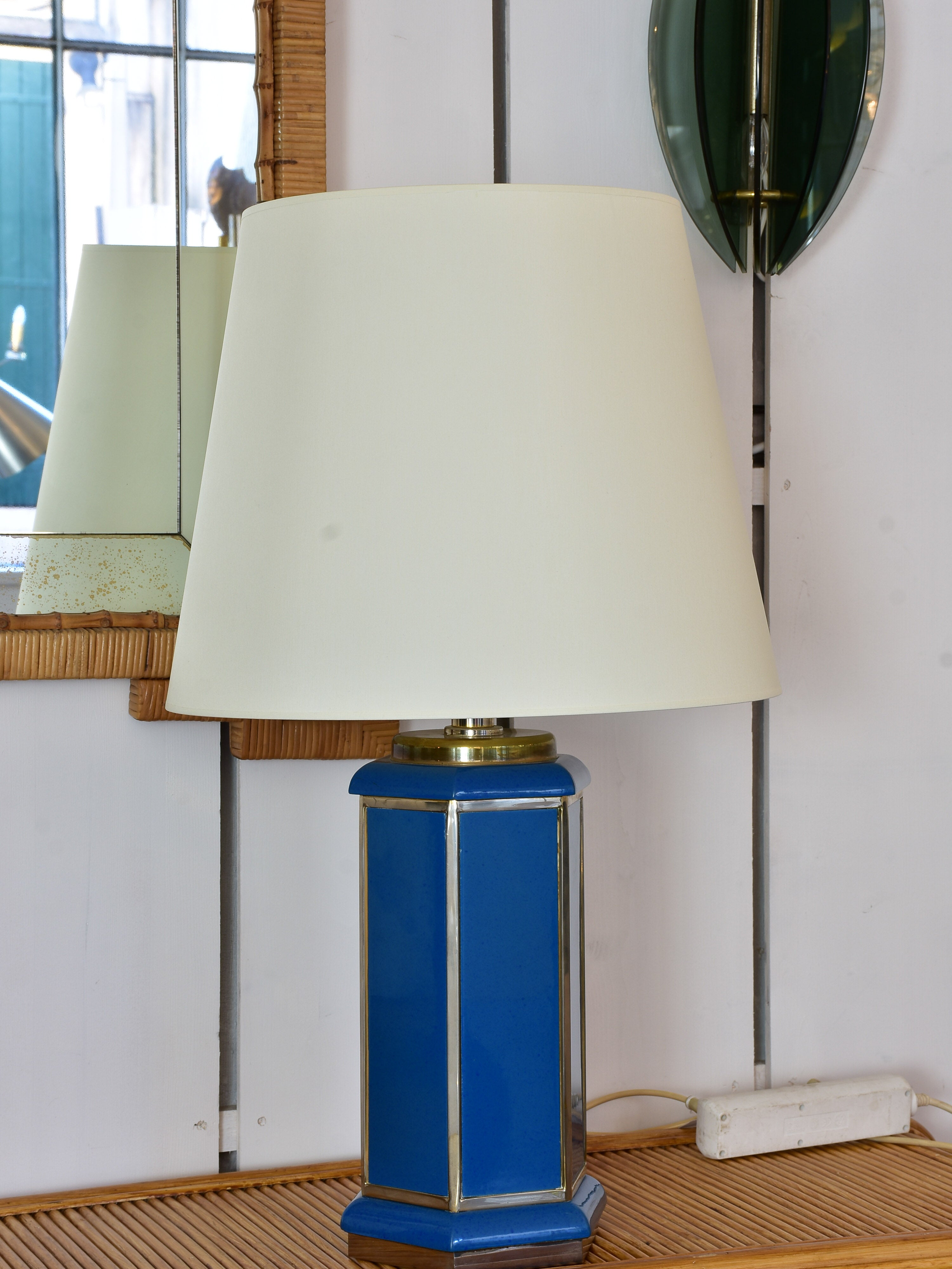 Pair of vintage Italian table lamps with hexagonal blue base