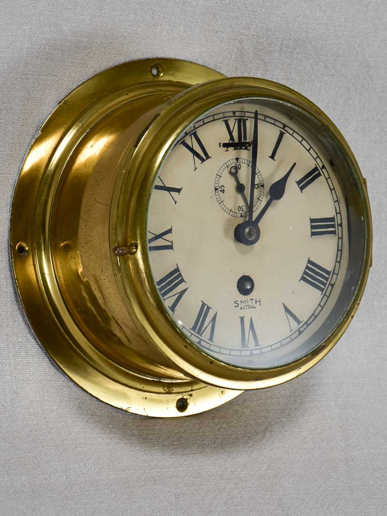 Antique English brass clock from a boat - Smith Astral 8¼""