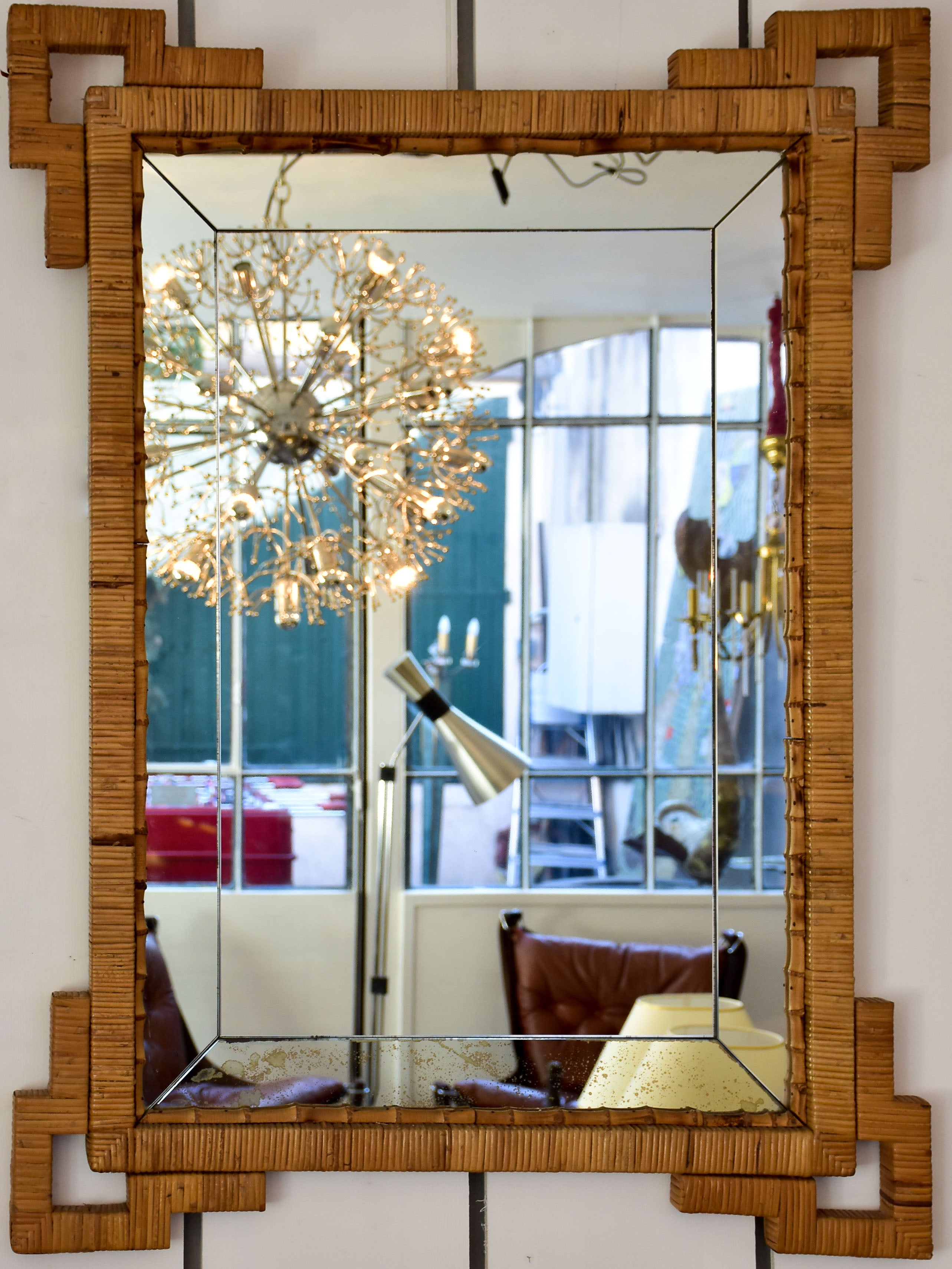 Vintage mirror with rattan and bamboo frame