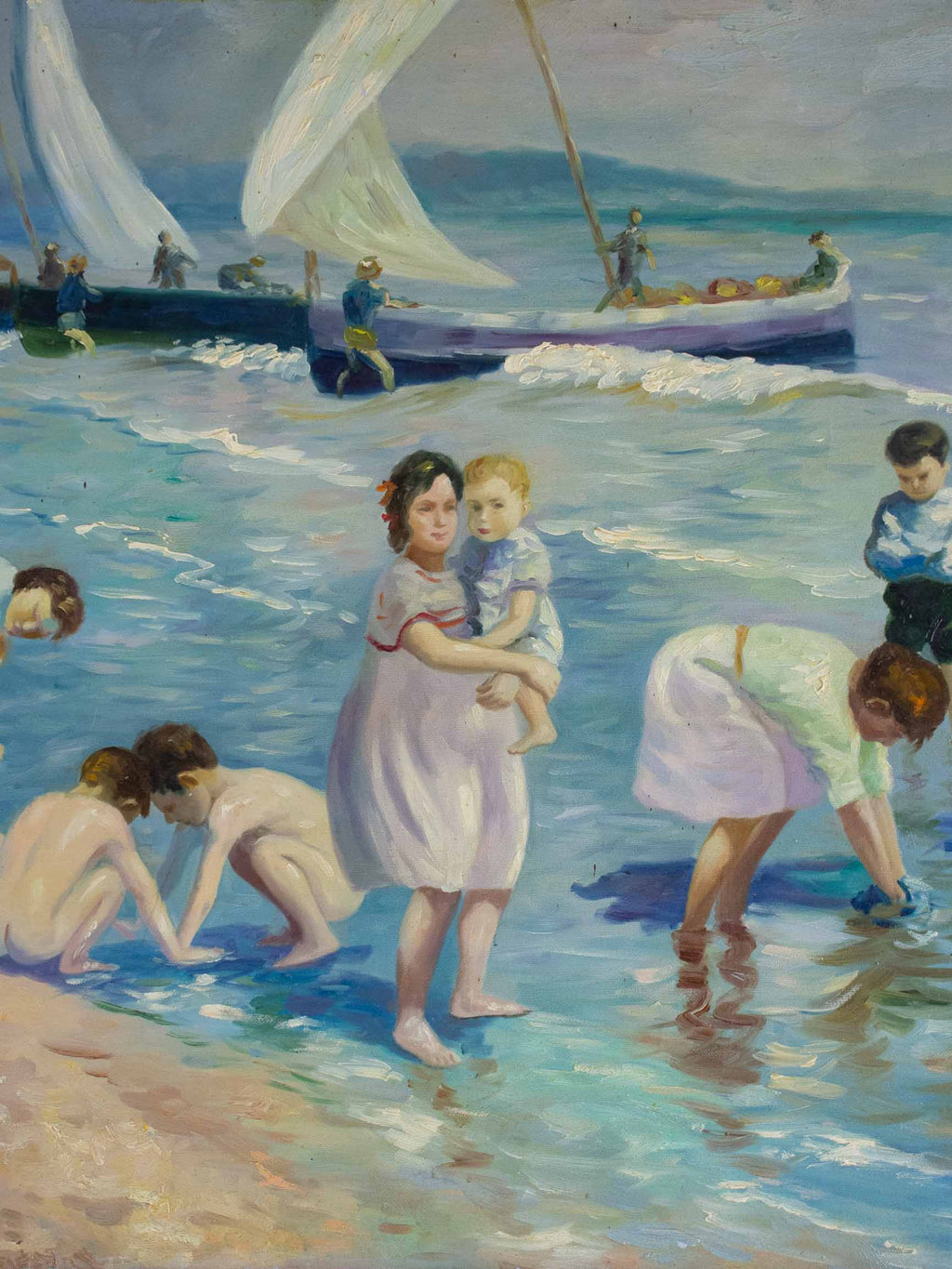 Vintage French painting of a summer's day at the beach 23 ½'' x 19 ¾''