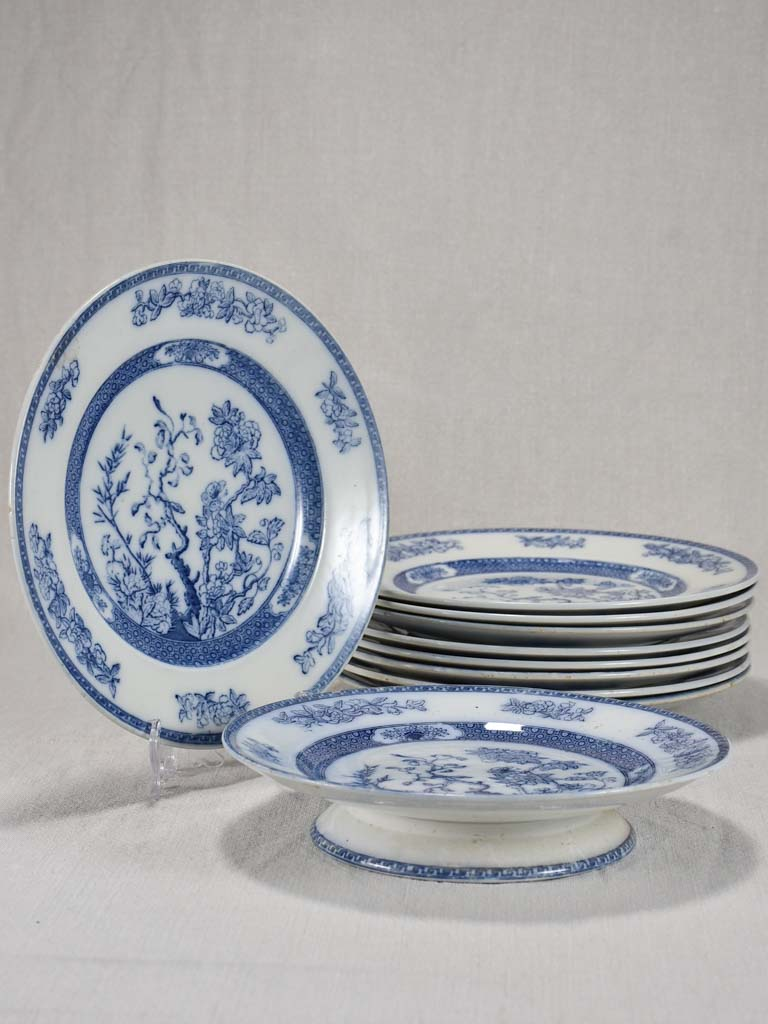 Set of antique French plates from the mid-twentieth century 9½""