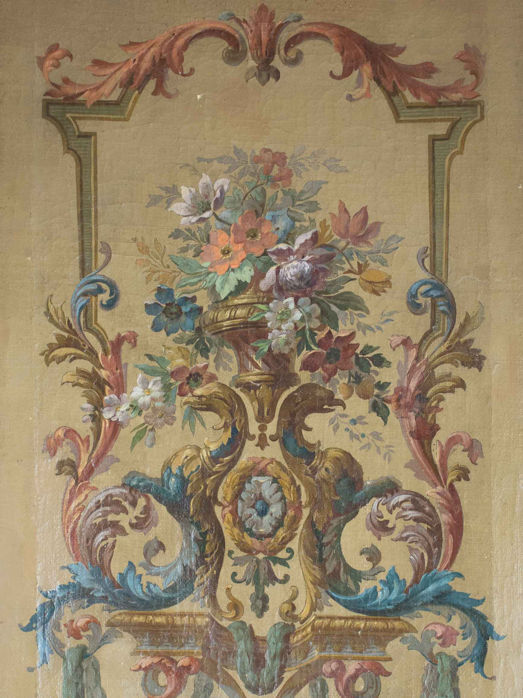 18th Century floral painting from a theater 19¼'' x 32""