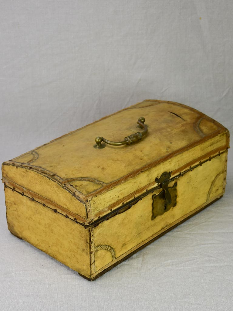 19th century French document trunk covered in parchment 15¾""