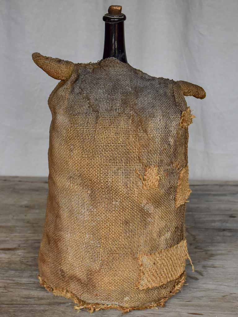 Antique French carboy in jute