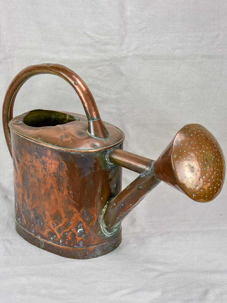 19th Century French copper watering can - oval