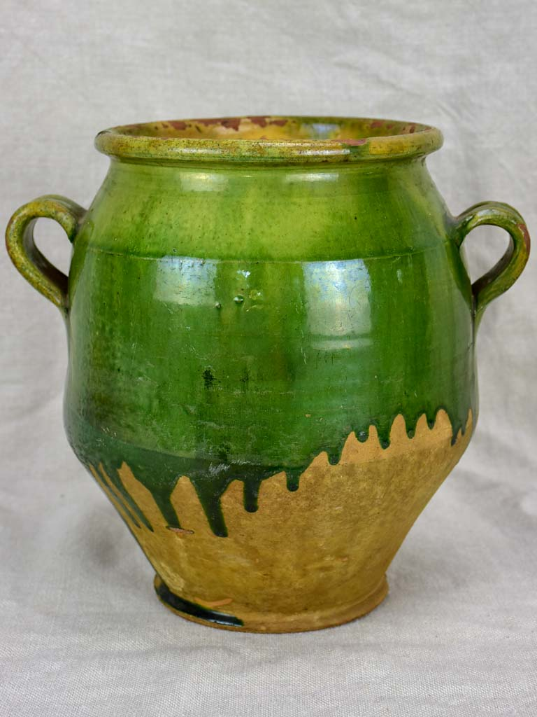 RESERVED MD 19th Century French confit pot with green glaze 9¾""