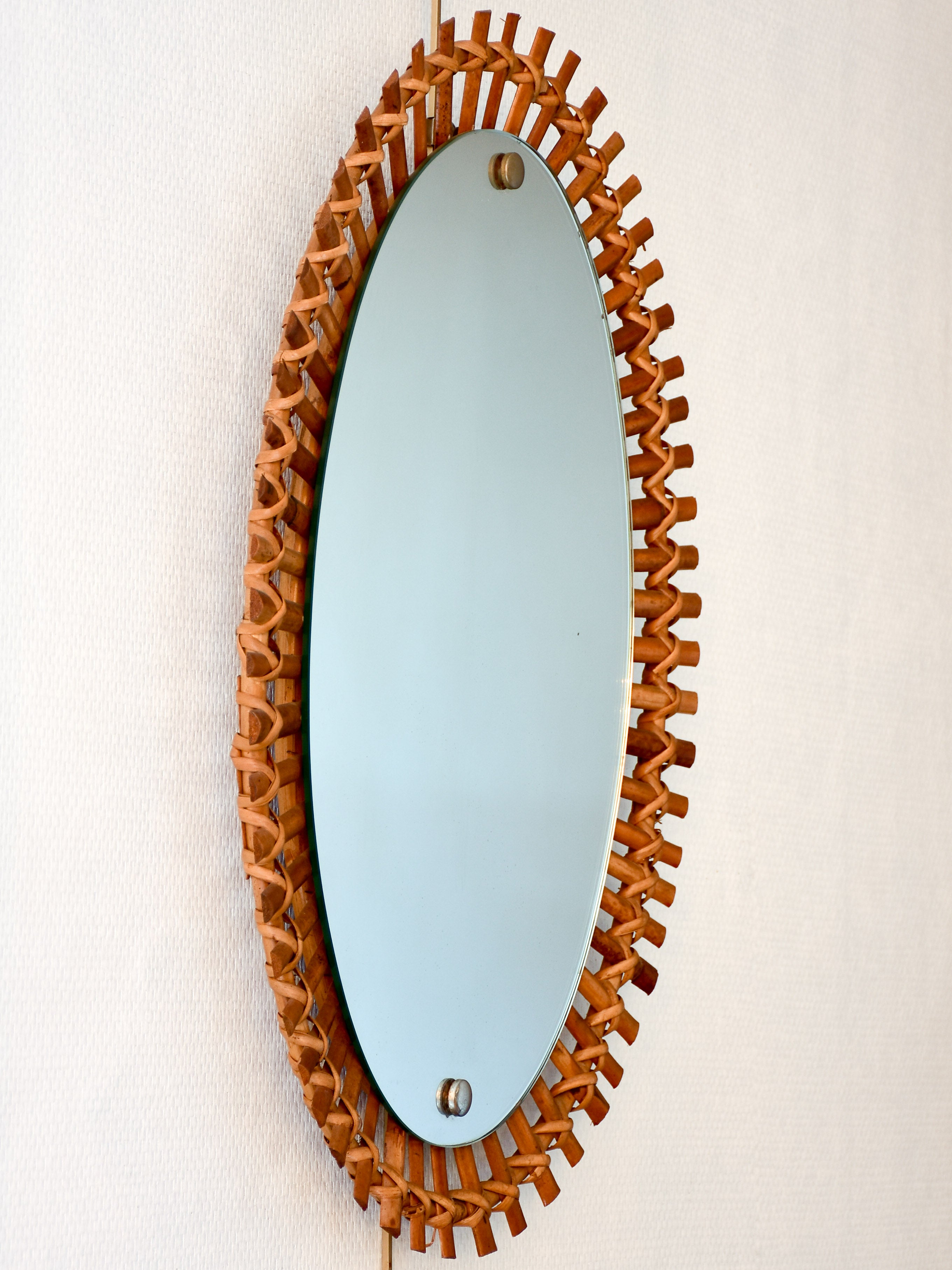 Vintage French oval mirror with rattan and bamboo frame