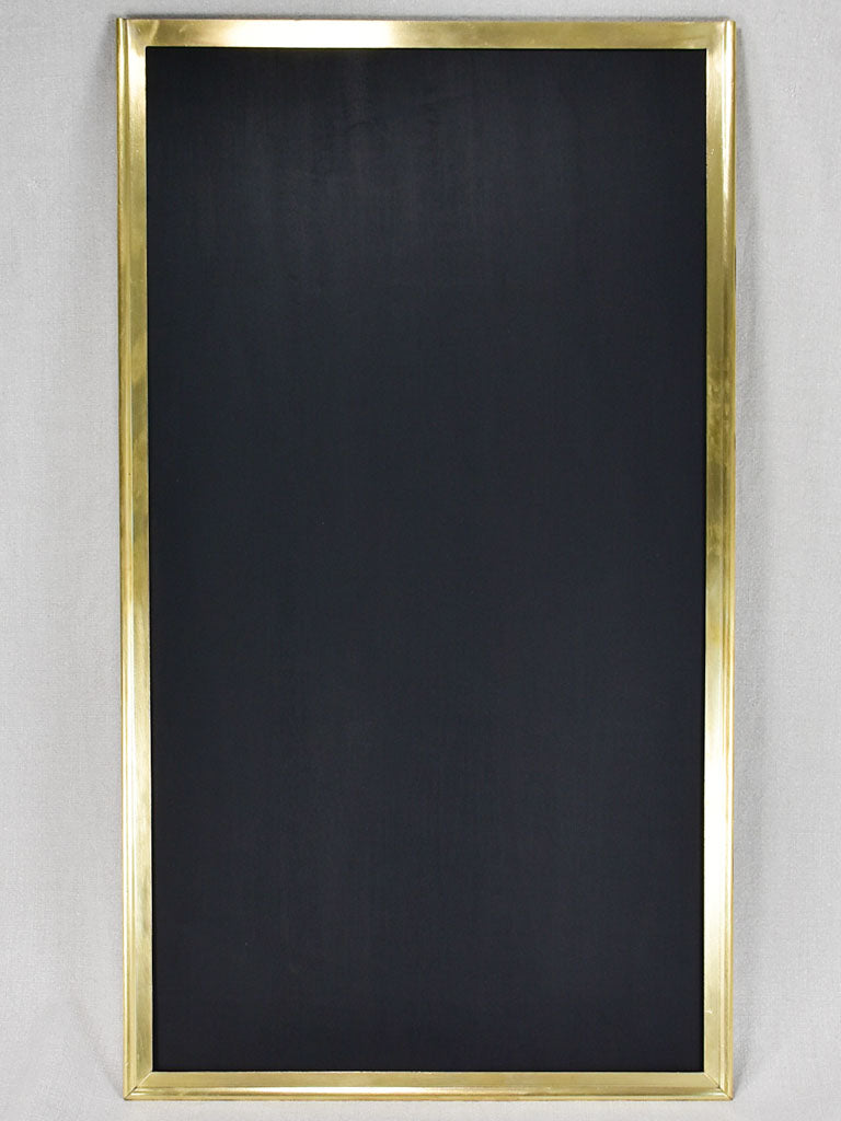 "Early twentieth-century French menu chalkboard with brass frame 17¾"" x 31½"""