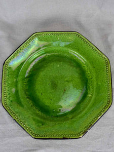 Late 19th Century octagonal platter with green glaze 13½""