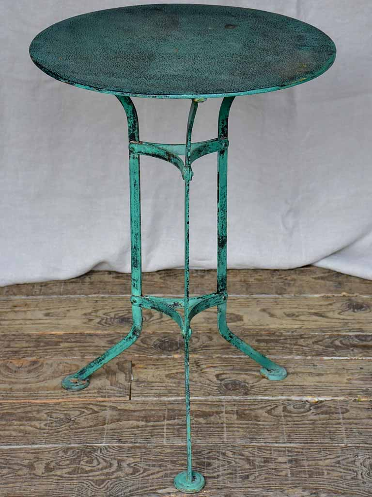 Small early 20th Century French garden table with blue patina